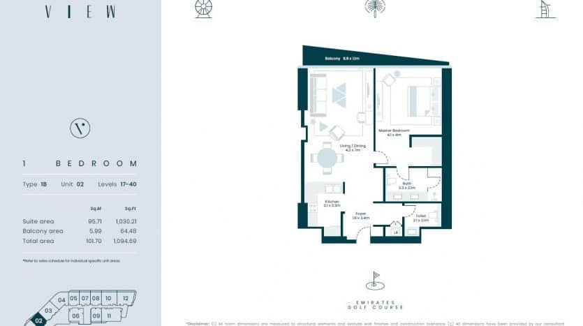 1 bed palm view